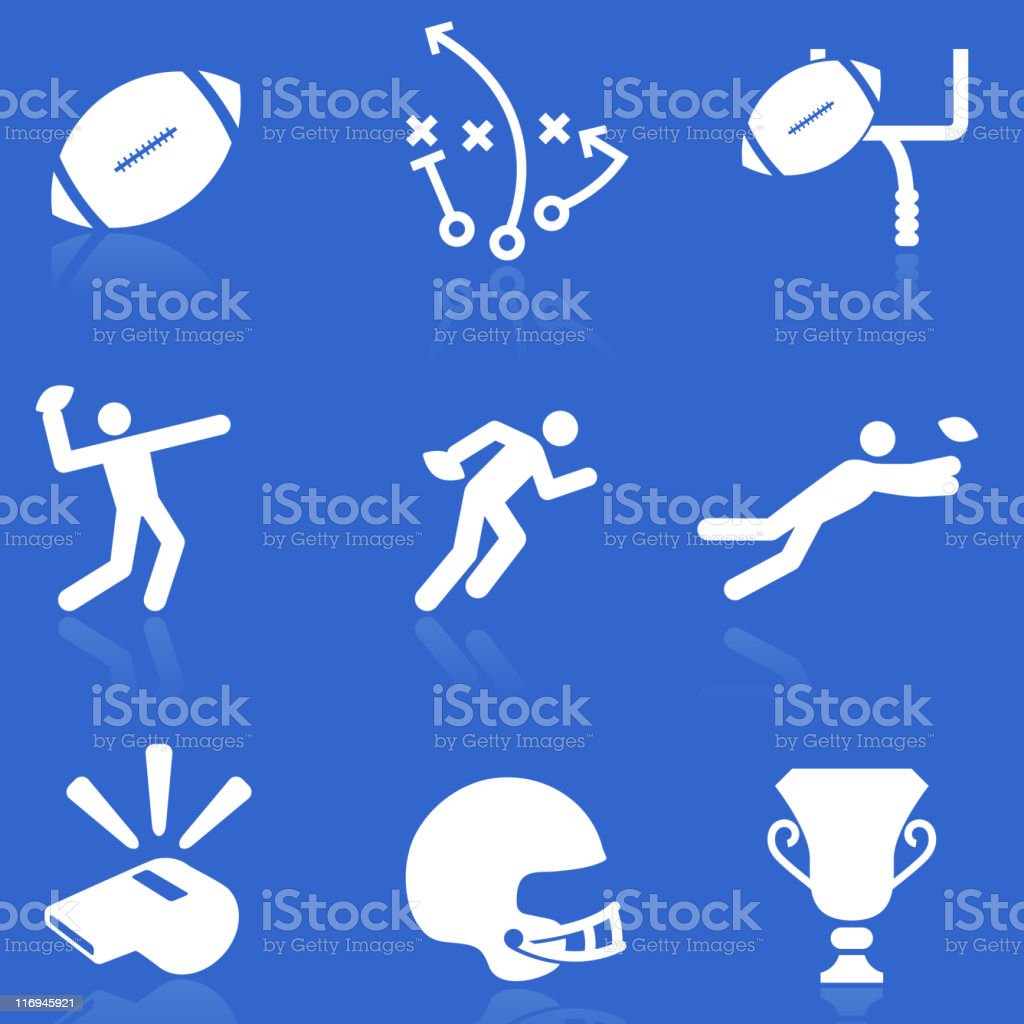 Football knockout white royalty free vector icon set vector art illustration
