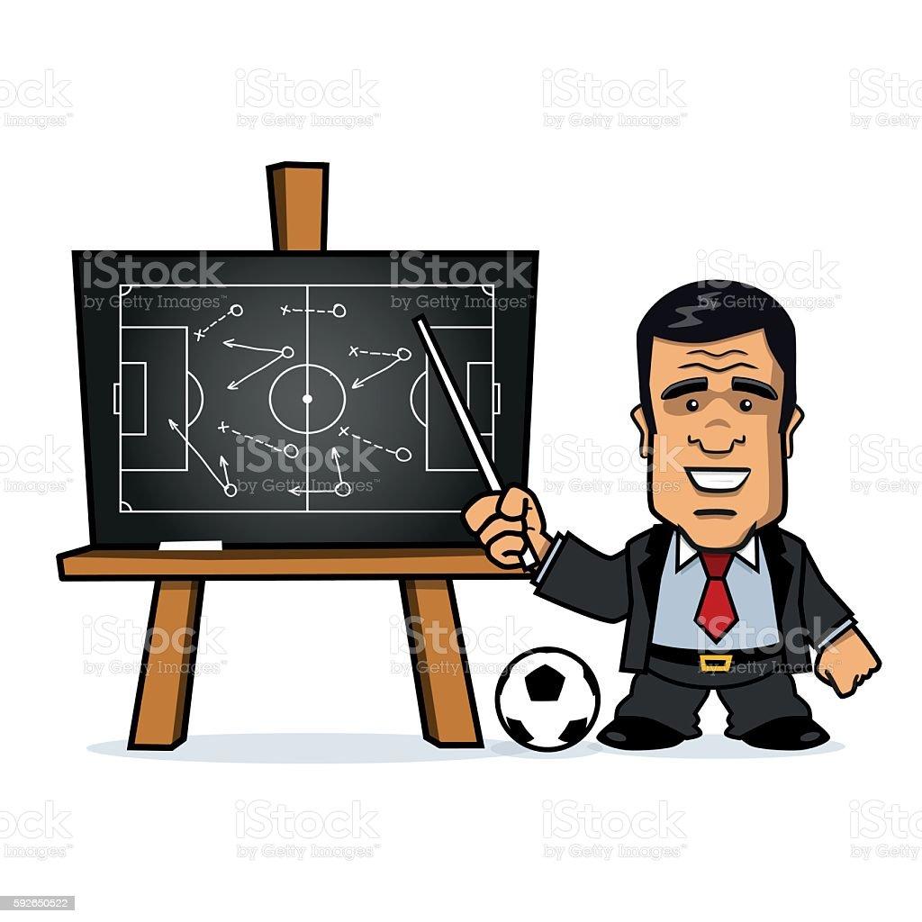 Football Manager pointing at Chalkboard vector art illustration