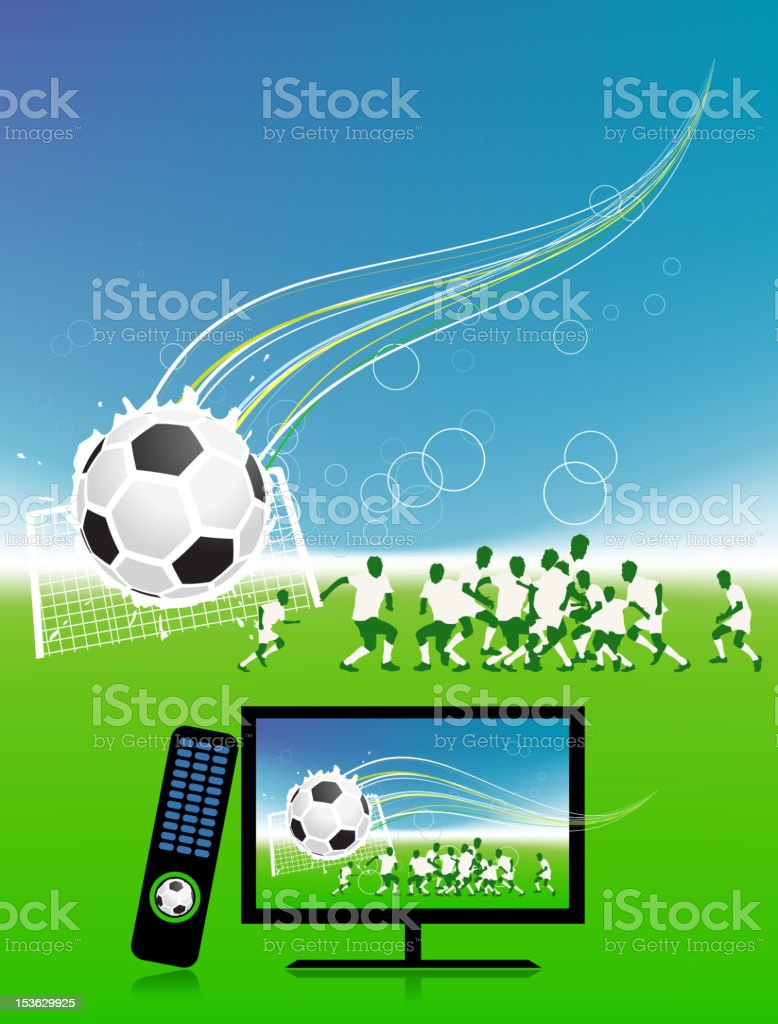 Football match on tv sports channel royalty-free stock vector art