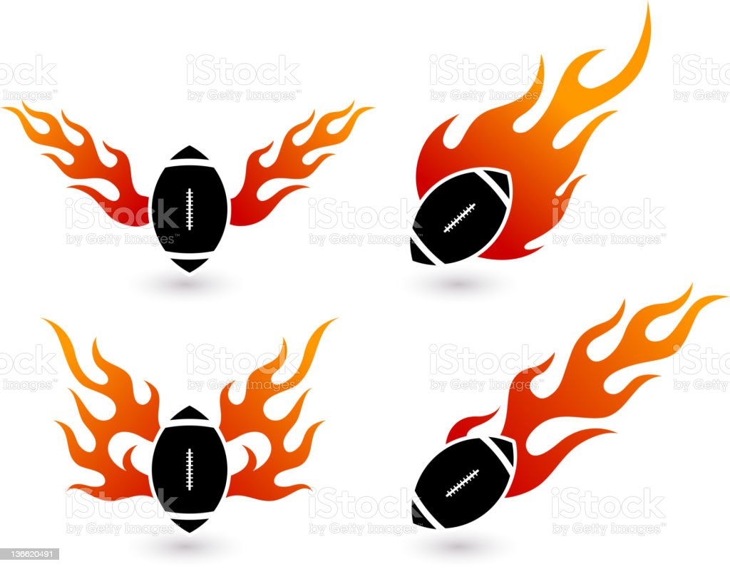 football on fire vector art illustration