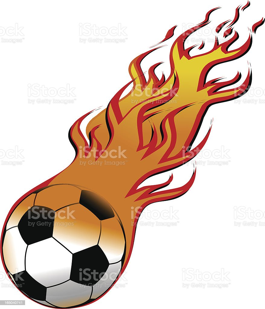 Football on fire royalty-free stock vector art