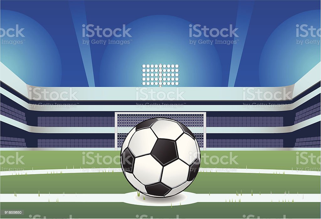 Football on the Pitch at Night vector art illustration