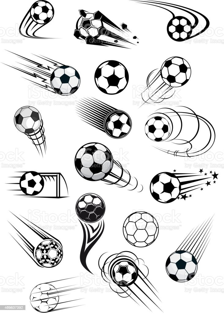 Football or soccer ball symbols in black and white colors vector art illustration