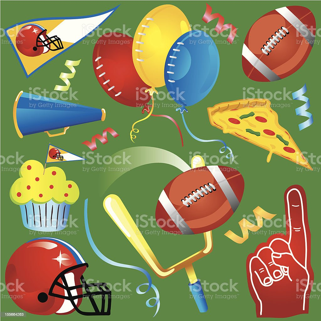 Football Party Clipart Icons vector art illustration