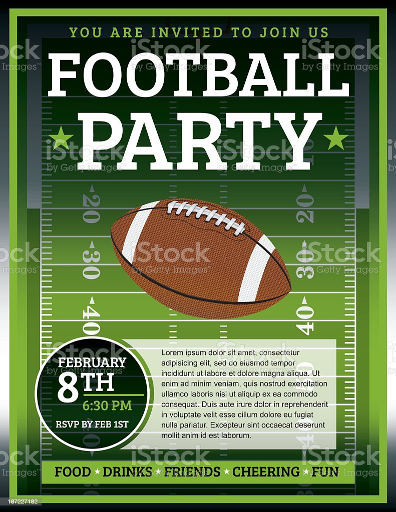 Football Party Flyer vector art illustration
