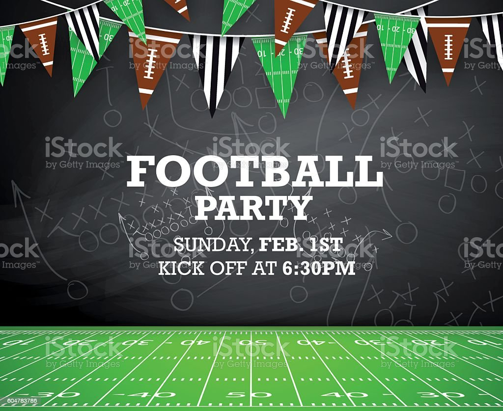 Football party invitation vector art illustration
