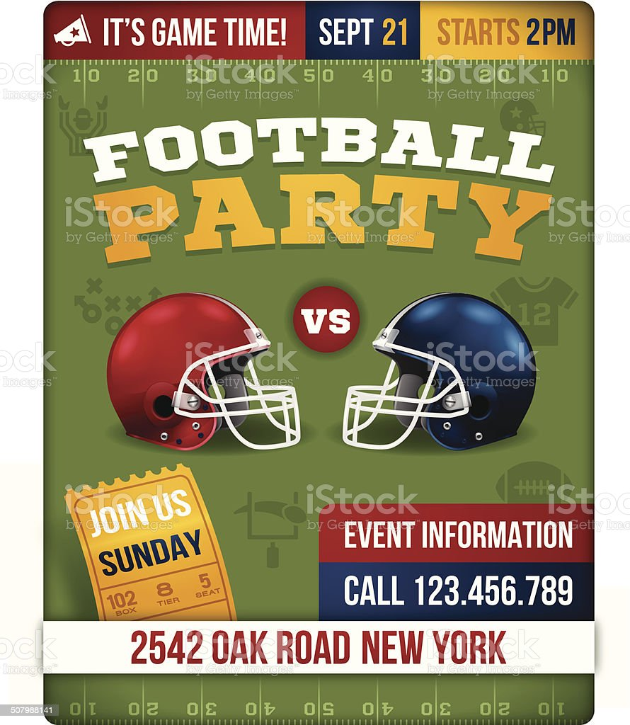 Football Party Invite Poster vector art illustration