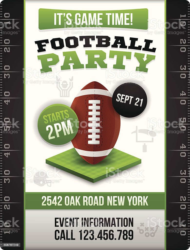 Football Party Invite Poster vector art illustration