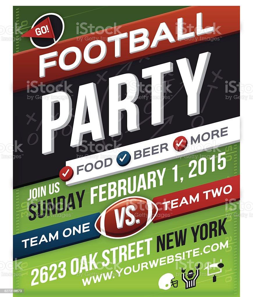 Football Party Poster vector art illustration