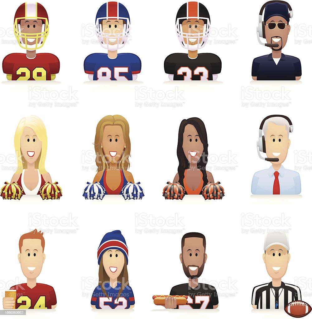 Football People Icons royalty-free stock vector art