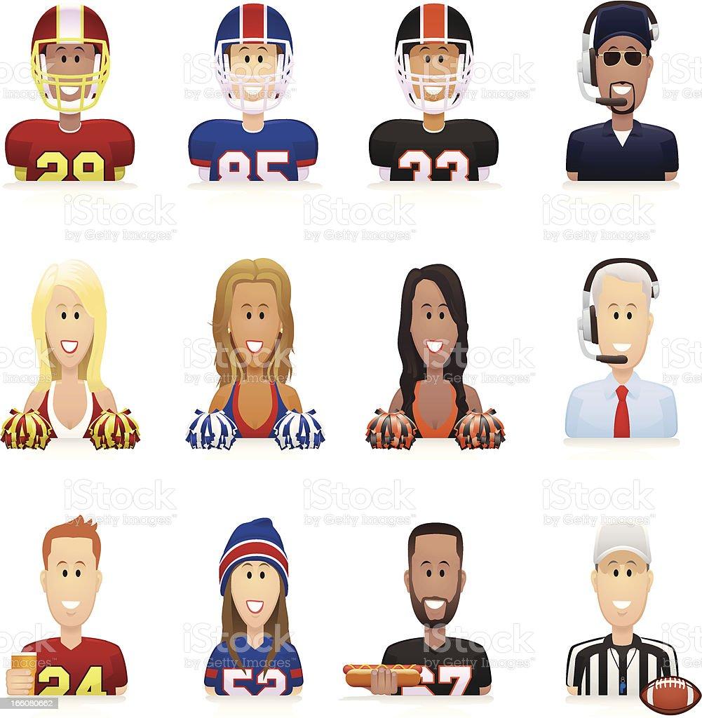 Football People Icons vector art illustration
