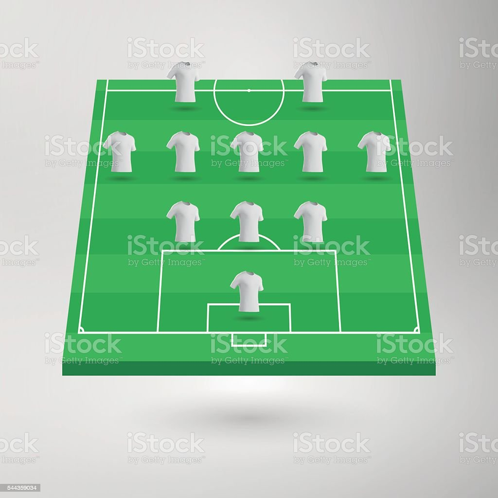 Football Pitch / Soccer Field Section with Shirts vector art illustration