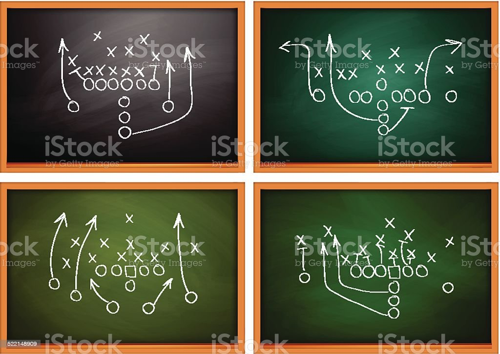 Football play drawn out on a chalk board vector art illustration