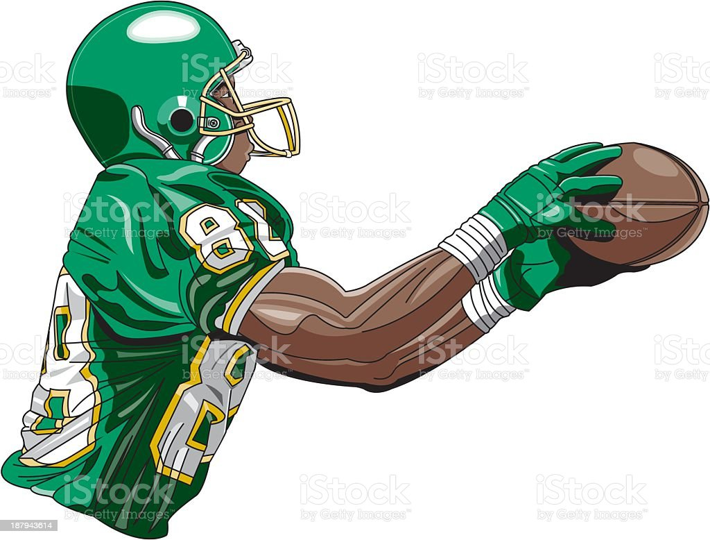 Football Player Catching Ball royalty-free stock vector art