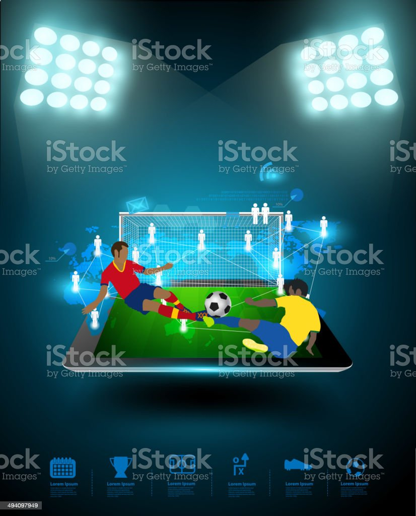 Football player connection on tablet computer royalty-free stock vector art