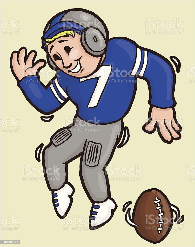 Football player doing a funny endzone dance royalty-free stock vector art