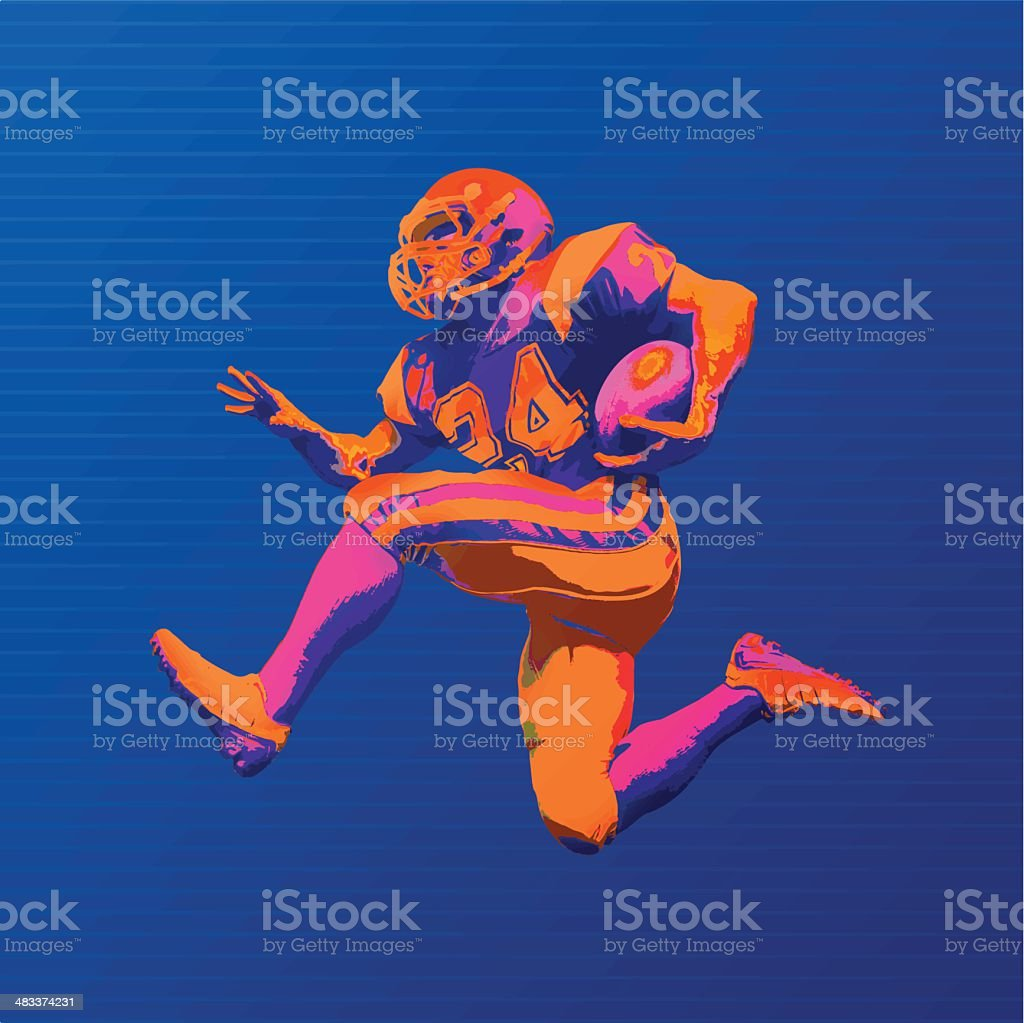 Football Player In Bold Graphic Colors vector art illustration