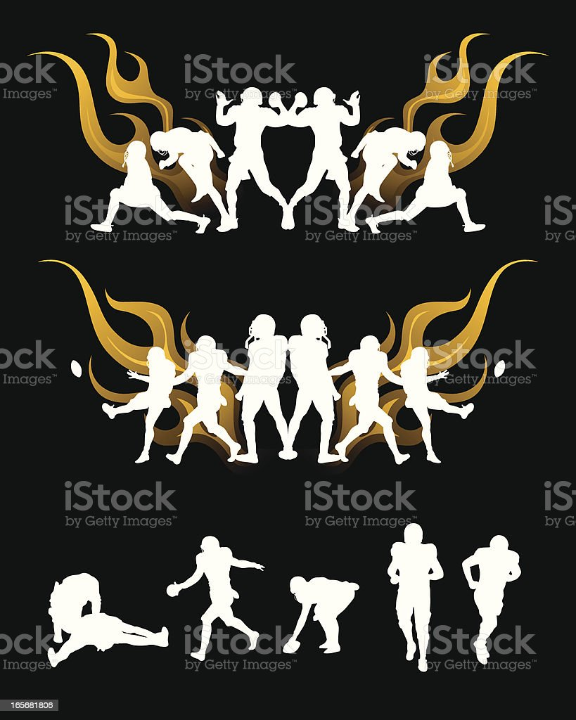 football player in flame, silhouettes vector art illustration