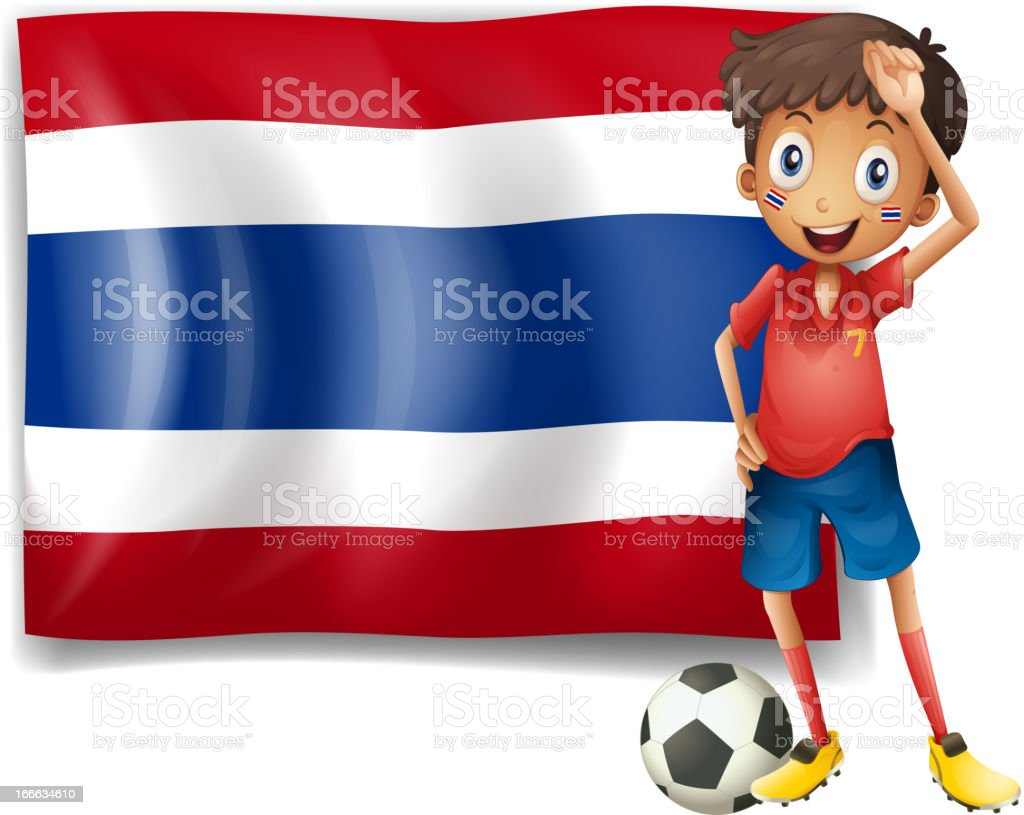 Football player in front of the Thailand flag royalty-free stock vector art