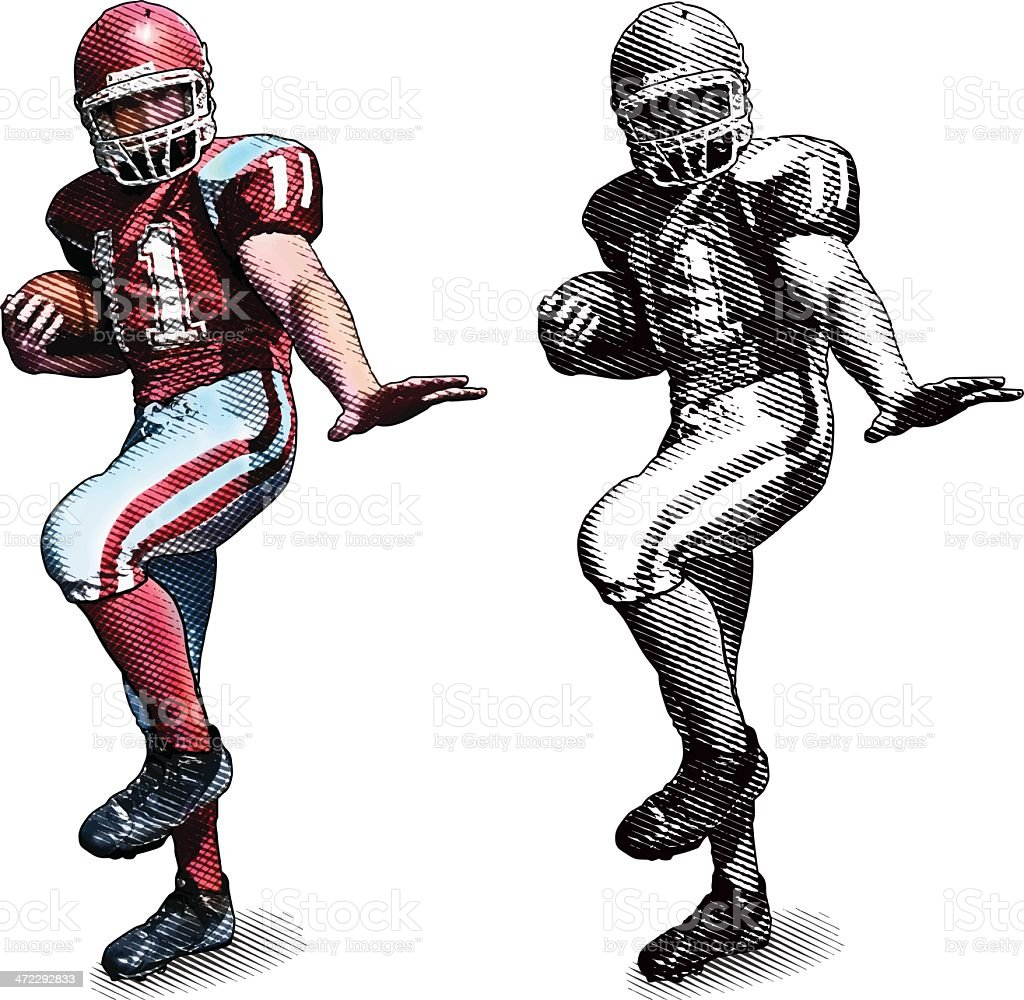 Football Player In Heisman Trophy Pose vector art illustration