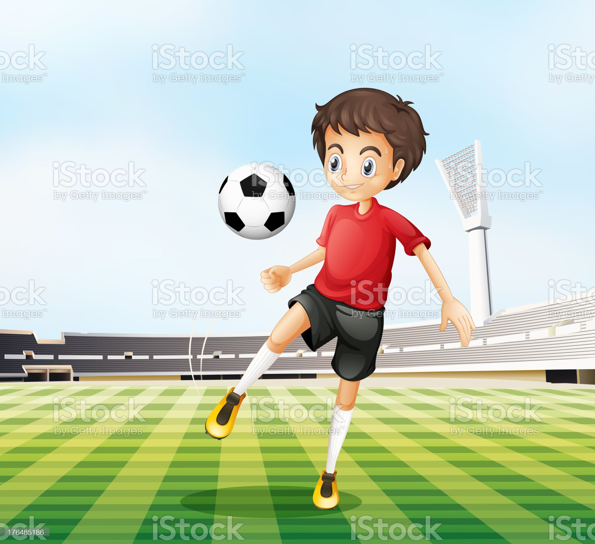 Football player in his red uniform royalty-free stock vector art