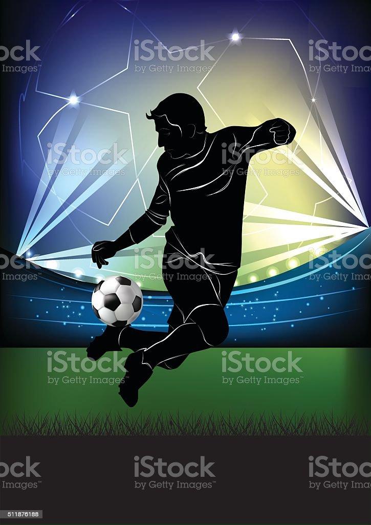 Football player - jump dribbling vector art illustration