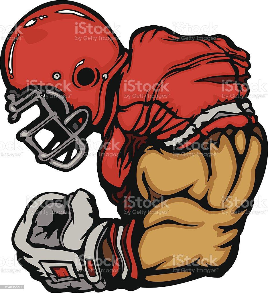 Football Player Lineman Cartoon vector art illustration