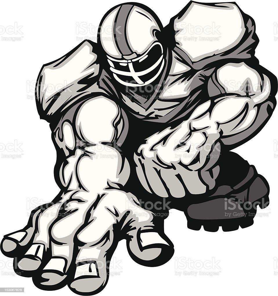 Football Player Lineman Vector Cartoon vector art illustration