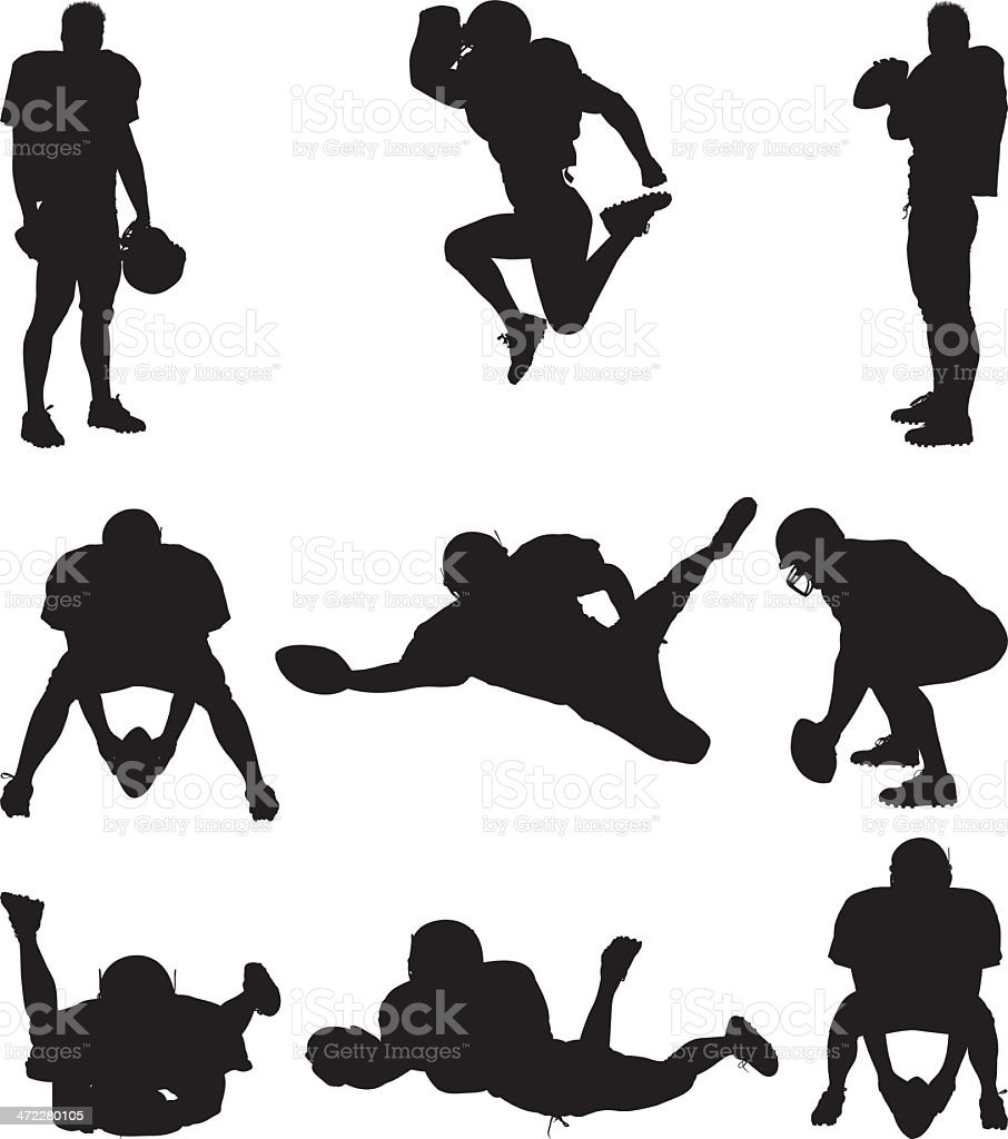 Football player silhouettes royalty-free stock vector art