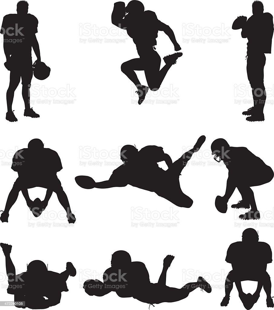 Football player silhouettes vector art illustration