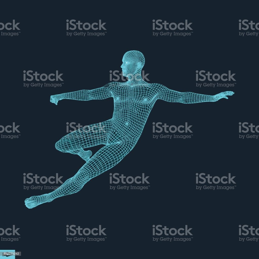 Football player. Sports concept. 3D Model of Man. vector art illustration