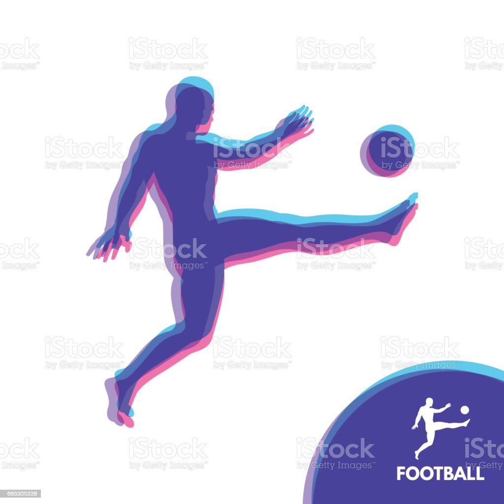 Football player with ball. Sports concept. Design Element. Vector Illustration. vector art illustration