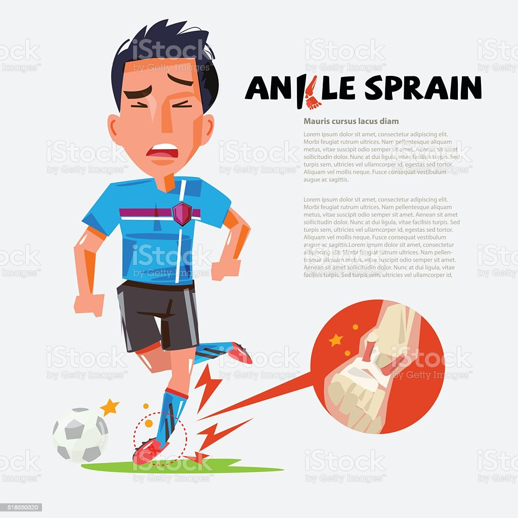 football player with Sprained Ankle.- vector illustration vector art illustration