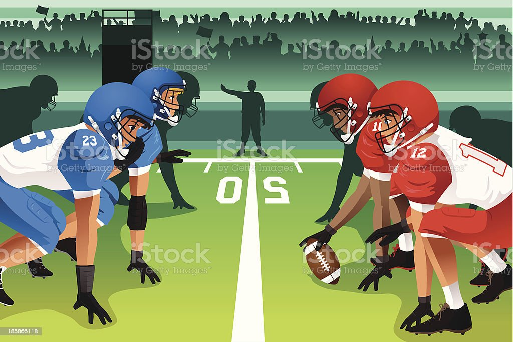 Football players in a match vector art illustration