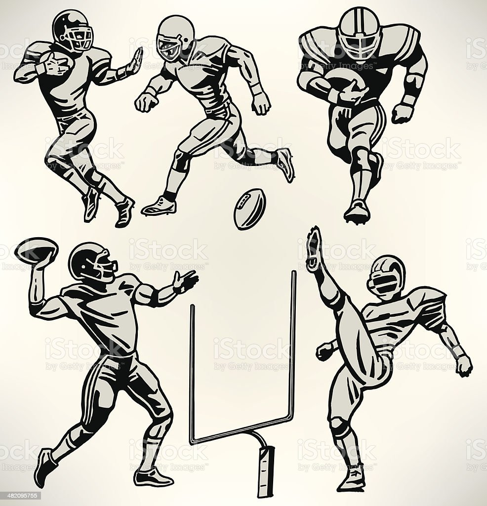 Football Players - Retro Style vector art illustration