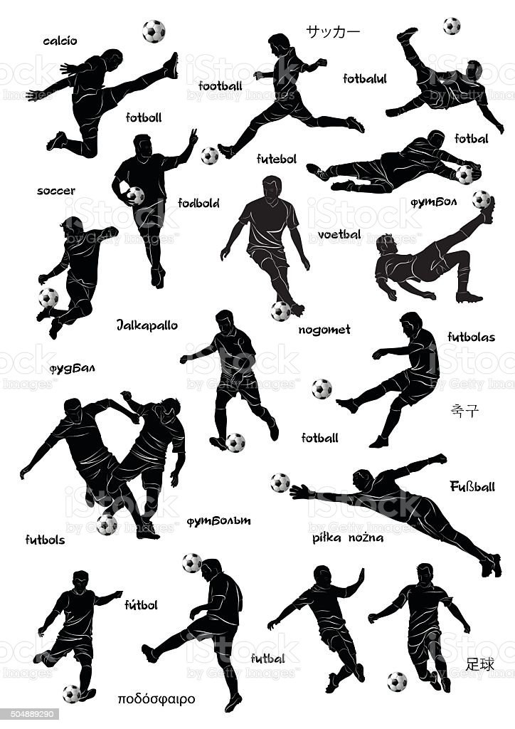 football players with word football in diff languages vector art illustration