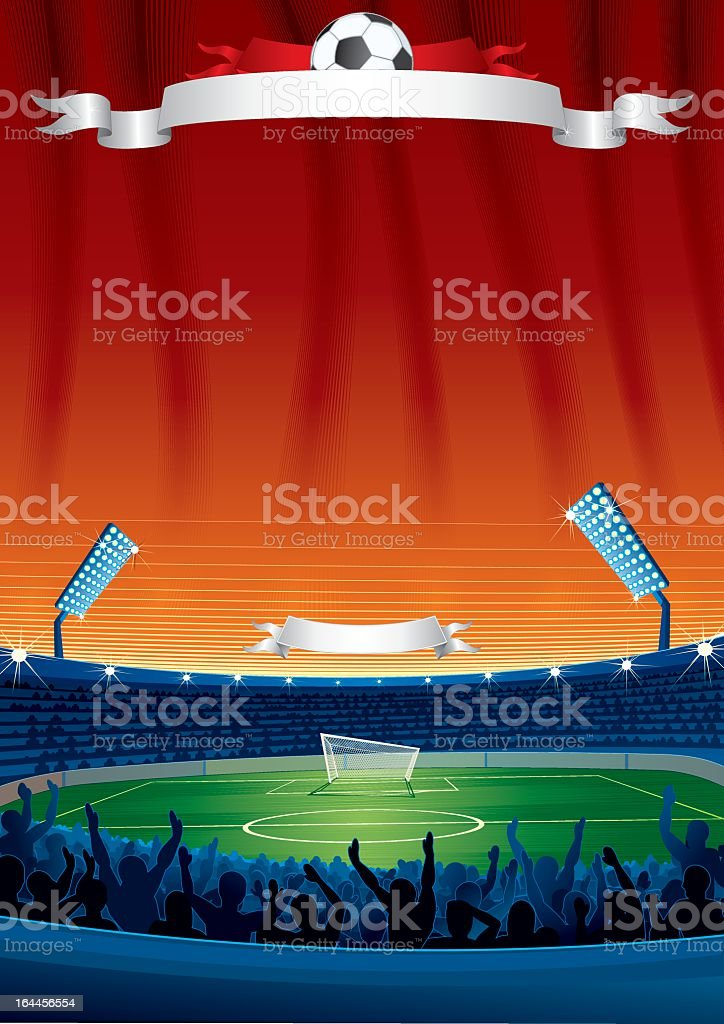 Football poster of a stadium with white banner royalty-free stock vector art