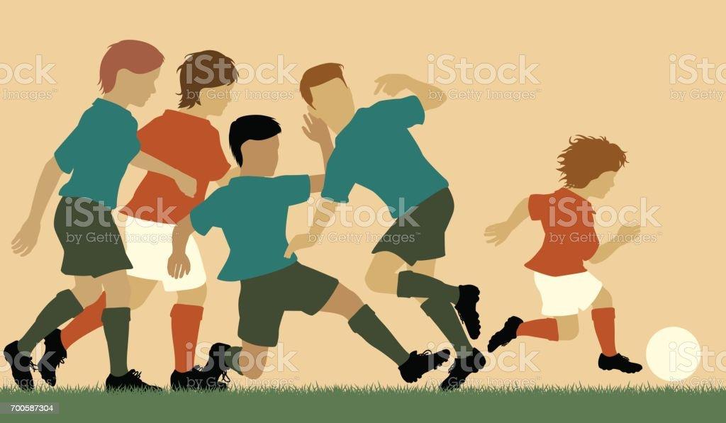 Football prodigy vector art illustration