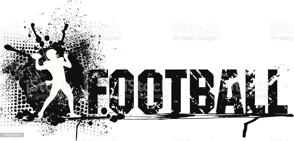 Football Quarterback Grunge Graphic with Type royalty-free stock vector art