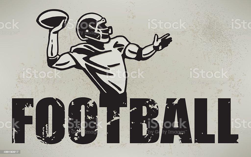 Football Quarterback Retro Style royalty-free stock vector art