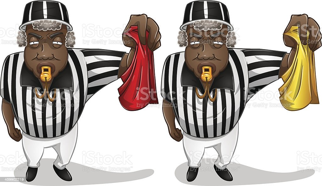 Football Referee with Flag and Whistle vector art illustration