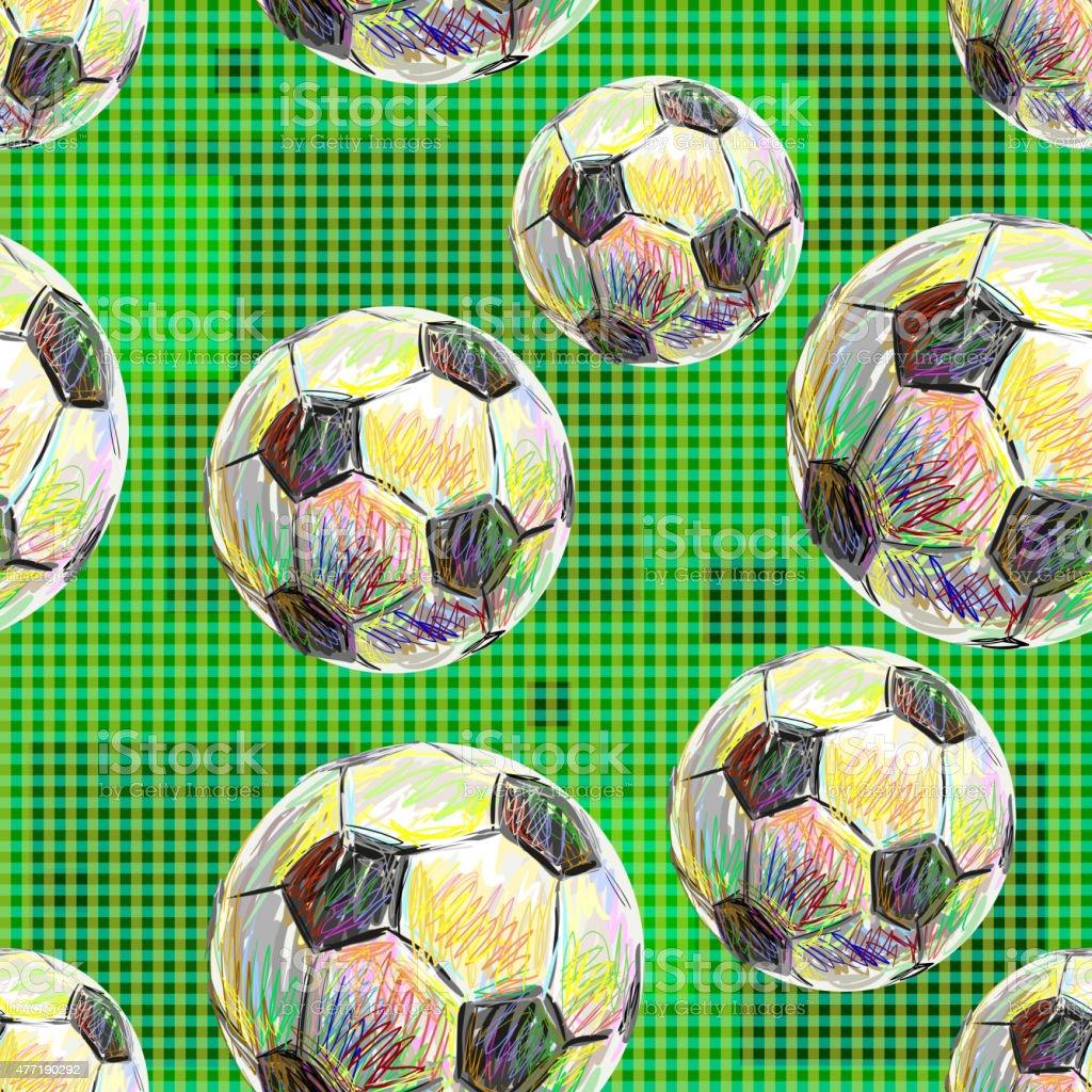 Football. Seamless pattern of soccer balls vector art illustration
