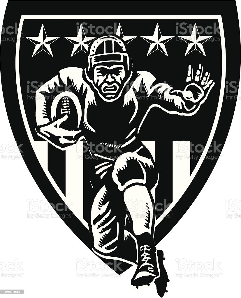 Football Shield Icon - Retro vector art illustration