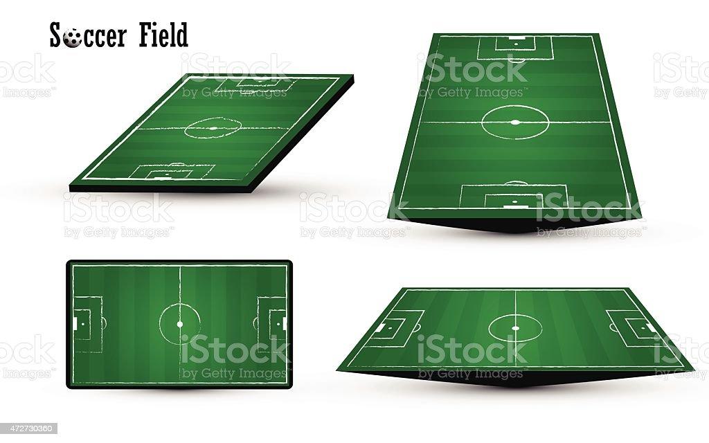 football soccer green field on white background vector art illustration