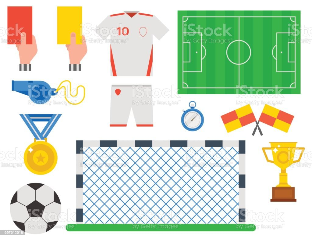 Football soccer icons player trophy competition game score win play flat design sport vector illustration vector art illustration