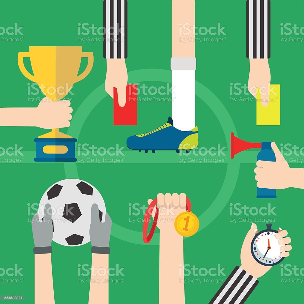 Football, soccer items with hands and foot, football field background vector art illustration