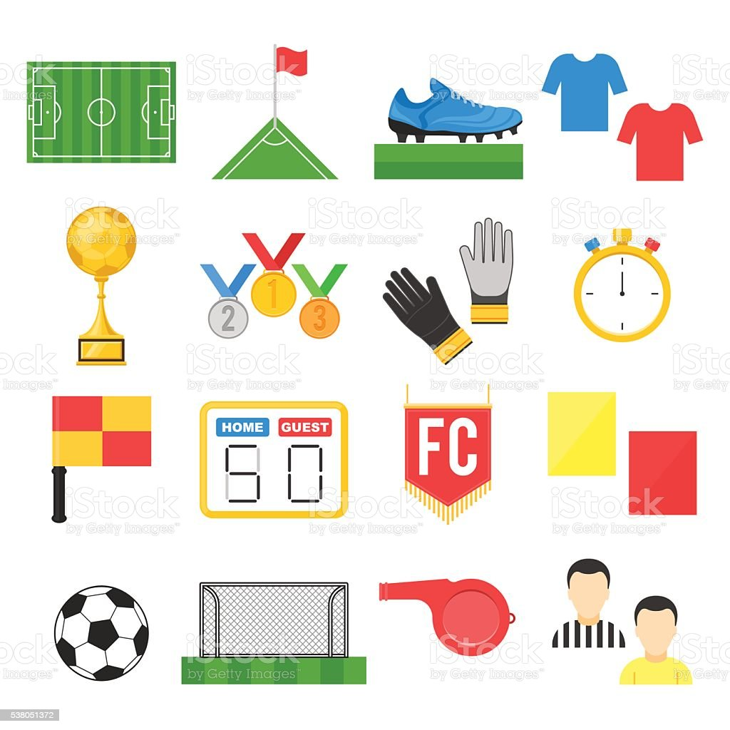 Football soccer sign set vector art illustration