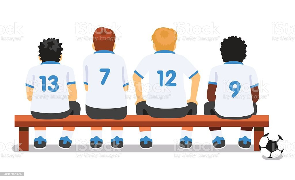 Football soccer sport team sitting on a bench vector art illustration