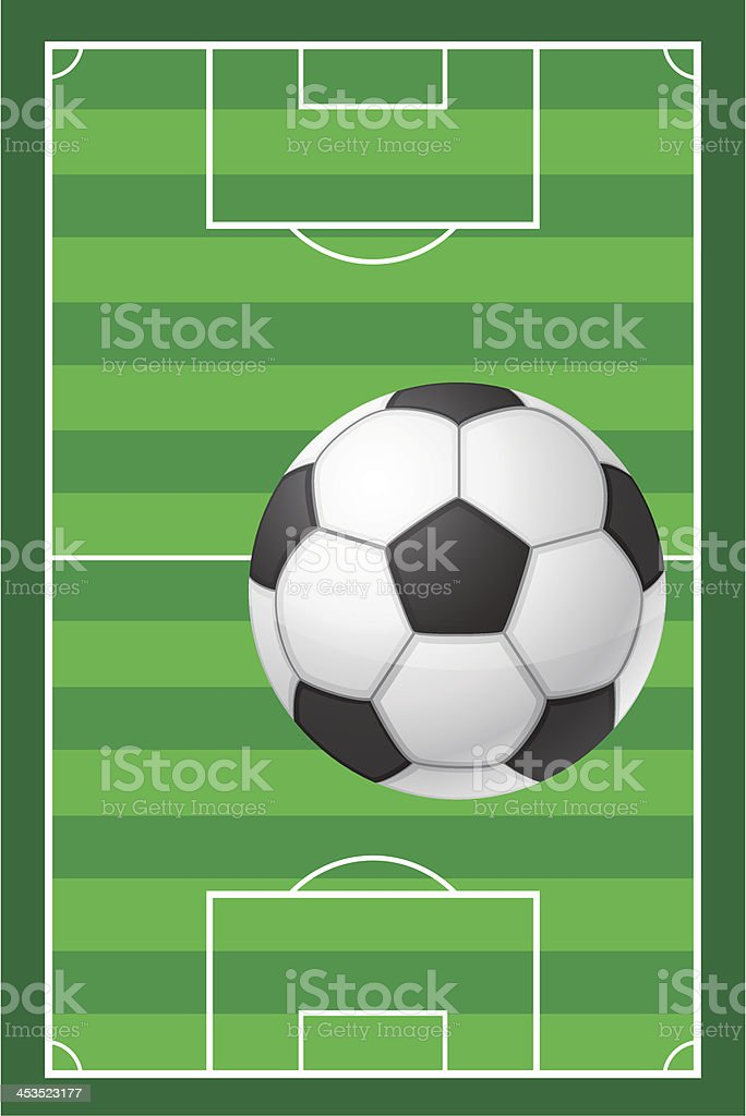 football soccer stadiun field and ball vector illustration royalty-free stock vector art