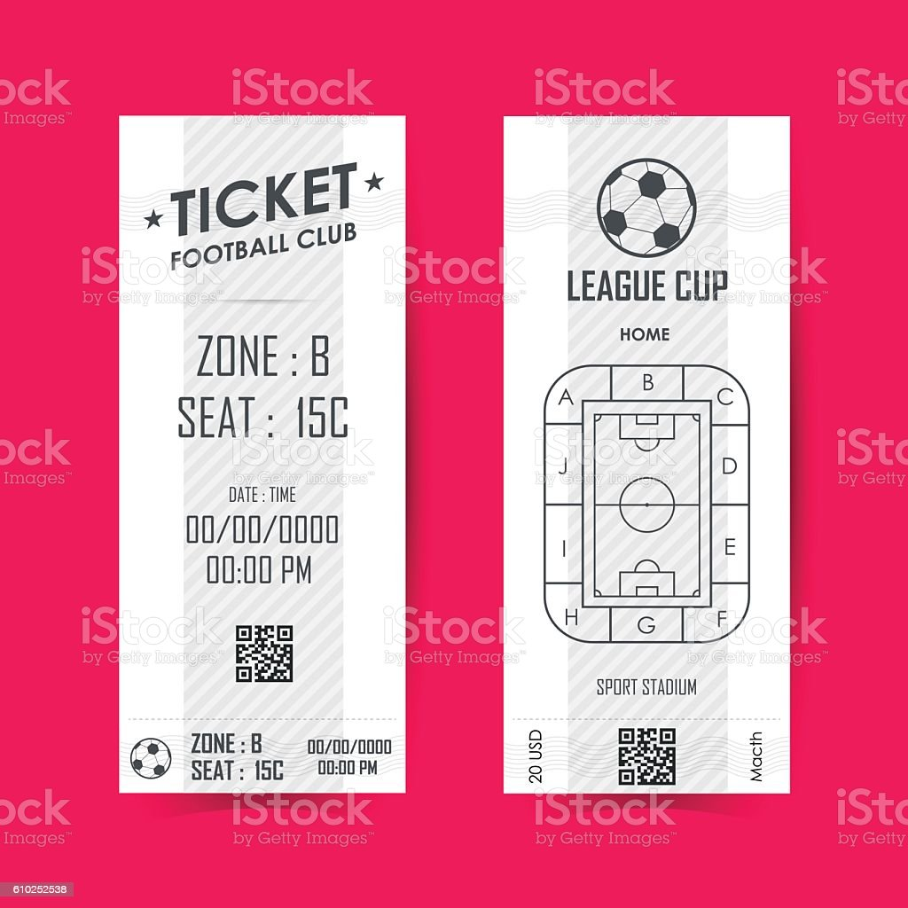 Football, Soccer Ticket Vertical Design. Vector illustration vector art illustration